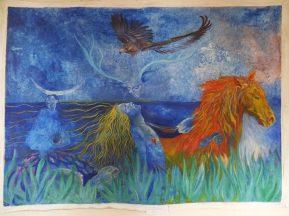 L'oiseau guide extrait les peines acrylique sur toile, 110x 140 cm ©Pauline de Mars 2014