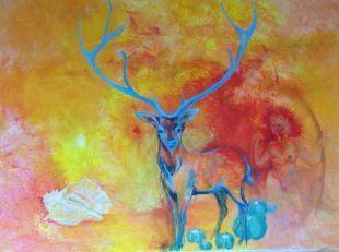 Le cerf bleuacrylique sur toile, 90x120 cm ©Pauline de Mars 2014