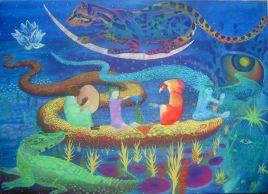 Cérémonie des Eaux primordialesacrylique sur toile, 110x140 cm ©Pauline de Mars 2014