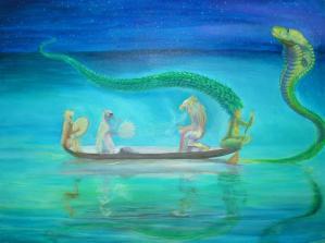 Barque de guérison acrylique sur toile, 80 x 110 cm ©Pauline de Mars 2015 2500€