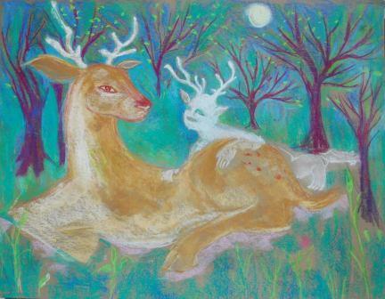 Esprit des bois pastel sec sur papier amatl 50x70 cm ©Pauline de Mars 2013 400€