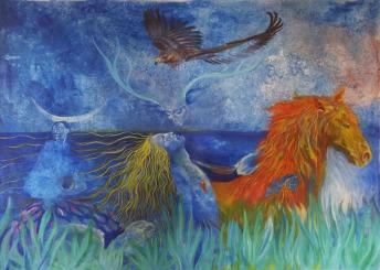 L'oiseau extrait ta peineacrylique sur toile, 110x140 cm ©Pauline de Mars 2014
