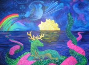 Je suis le rêve et je suis le rêveur, je suis le tissage et je suis le tisseur...acrylique sur toile, 110x 130 cm ©Pauline de Mars 2014