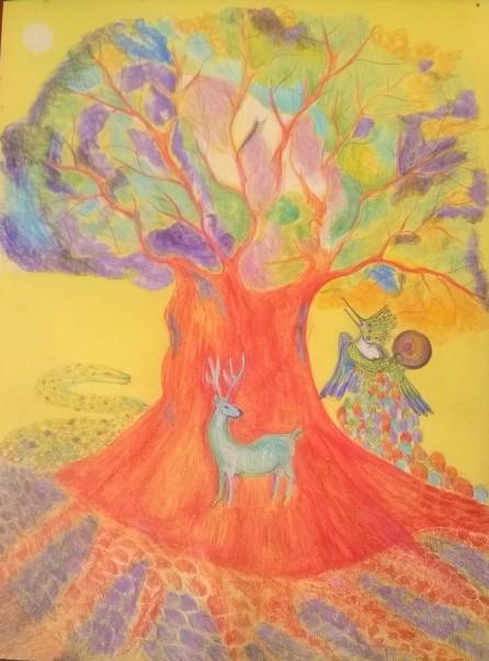 Femme colibri et l'arbre de vie acrylique sur toile, 32x24 cm ©Pauline de Mars 2015 200€