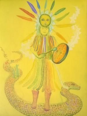 Femme à la jupe de serpents acrylique sur toile, 32x24 cm ©Pauline de Mars 2015 200€