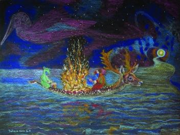 canoe 3 - crayons de couleur sur papier - A4 - 2016