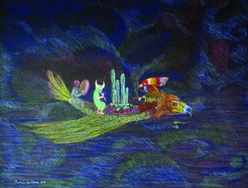 canoe 2 - crayons de couleur sur papier - A4 - 2016