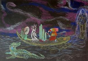 canoe 1 - crayons de couleur sur papier - A4 - 2016